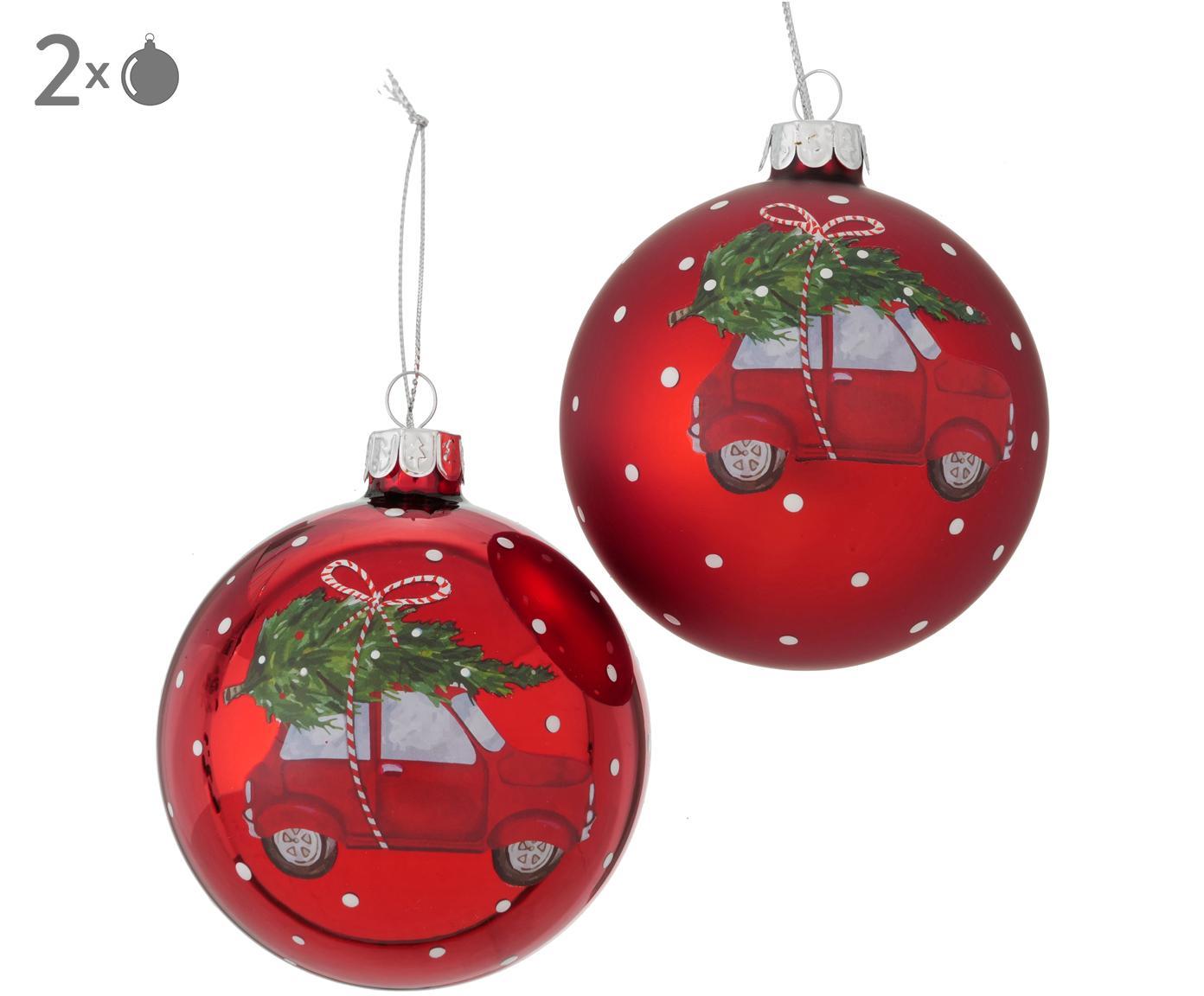 Kerstballenset Töffy, 2-delig, Rood, wit, groen, grijs, Ø 8 cm