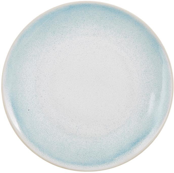 Ręcznie wykonany talerz duży Amalia, 2 szt., Ceramika, Jasny niebieski, kremowy, Ø 25 cm
