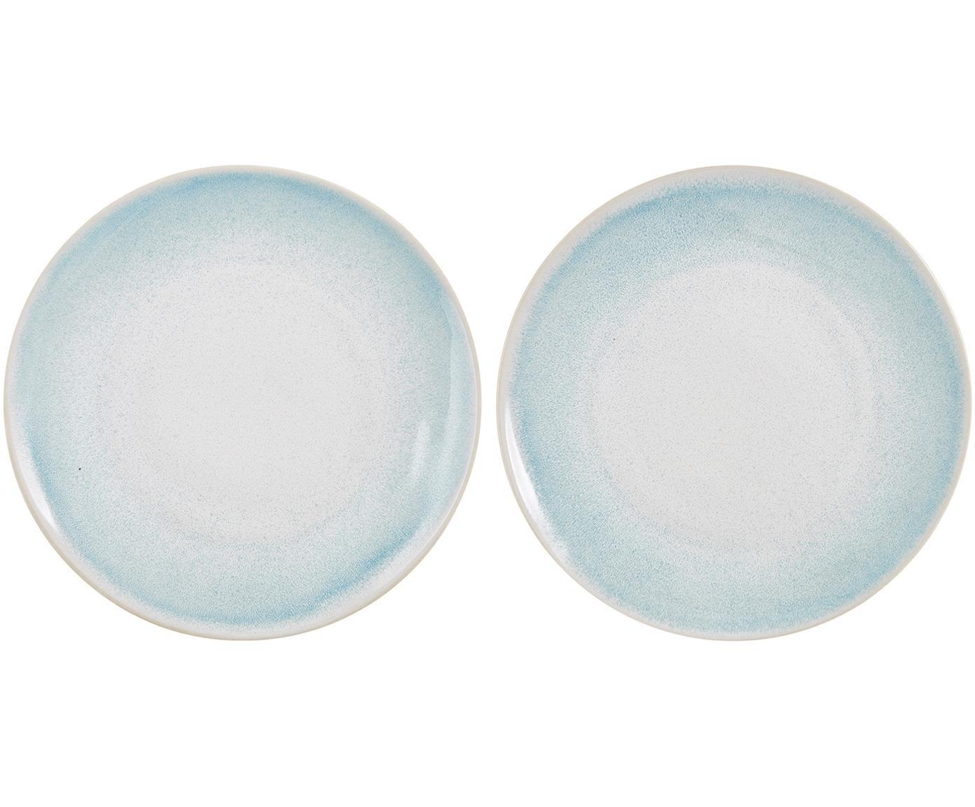 Handgemachte Speiseteller Amalia mit effektvoller Glasur, 2 Stück, Porzellan, Hellblau, Cremeweiß, Ø 25 cm