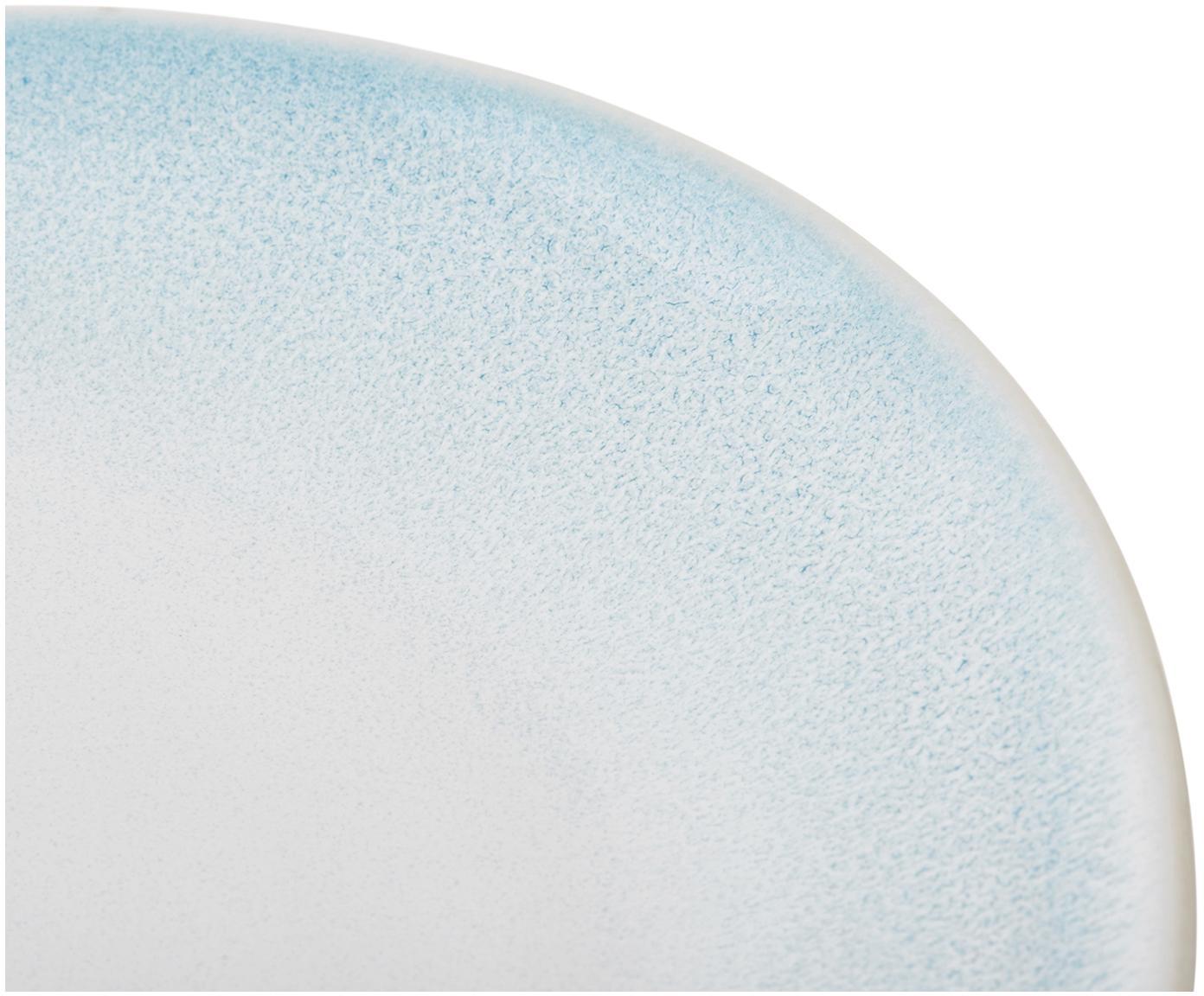 Handgemachte Speiseteller Amalia mit effektvoller Glasur, 2 Stück, Porzellan, Hellblau, Cremeweiss, Ø 25 cm