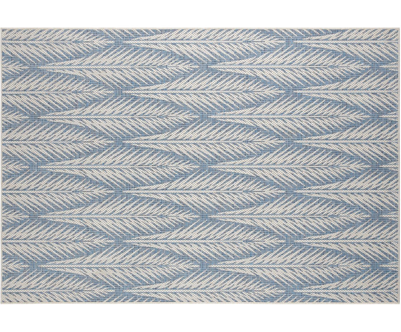Design in- en outdoor vloerkleed Pella met grafisch patroon, Polypropyleen, Blauw, beige, B 70 x L 140 cm (maat XS)