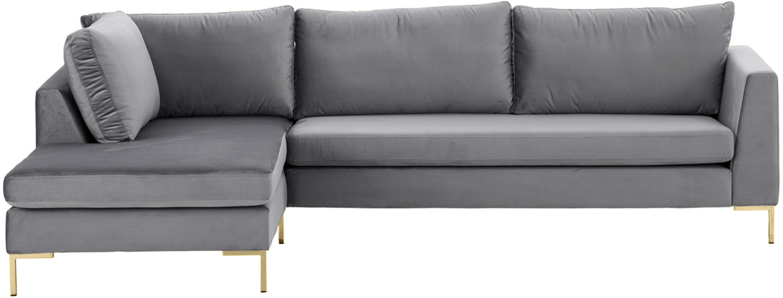 Sofa narożna z aksamitu Luna, Tapicerka: aksamit (100% poliester) , Stelaż: lite drewno bukowe, Nogi: metal galwanizowany, Aksamitny ciemny szary, złoty, S 280 x G 184 cm