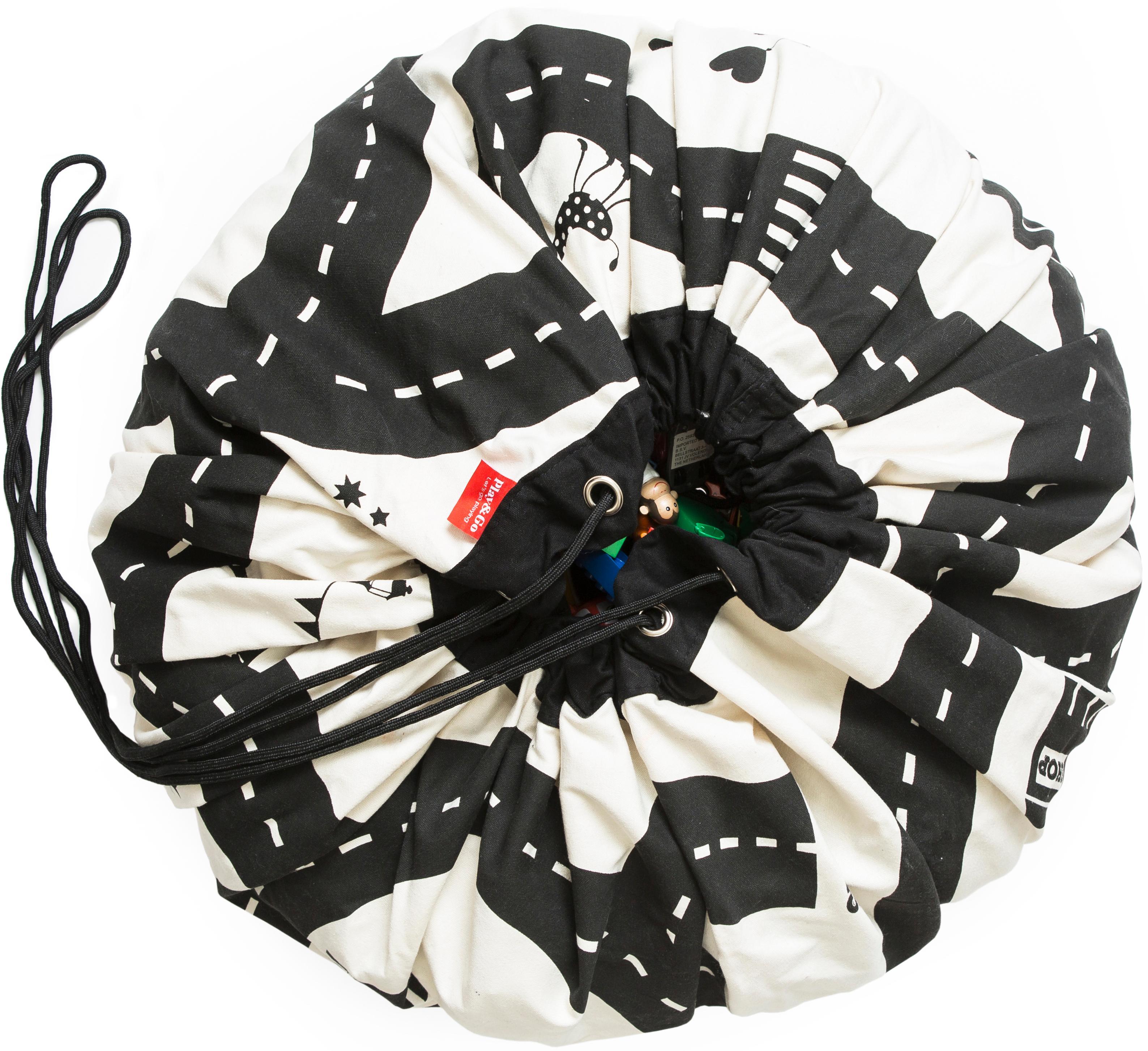 Koc do zabawy Roadmap, Poliester, Czarny, biały, Ø 140 cm