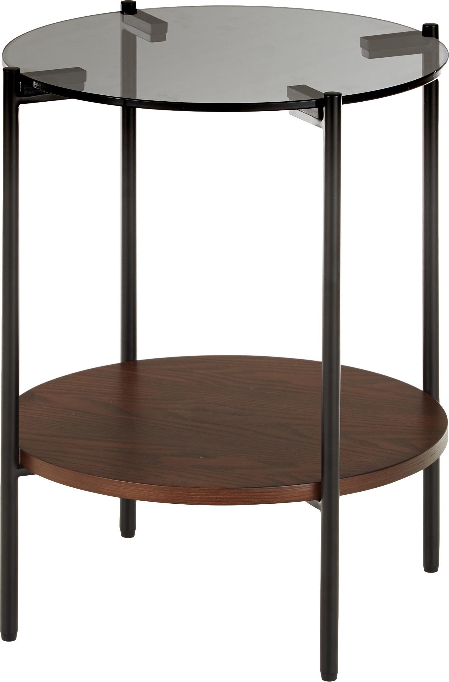 Beistelltisch Valentina mit Glasplatte, Tischplatte: Glas, Ablagefläche: Mitteldichte Holzfaserpla, Gestell: Metall, pulverbeschichtet, Braun, Ø 44 x H 50 cm