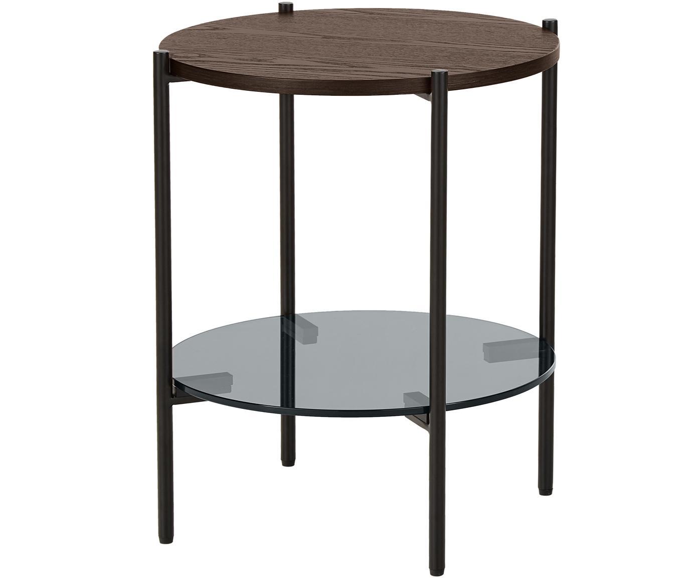 Stolik pomocniczy ze szklanym blatem Valentina, Blat: szkło, Stelaż: metal malowany proszkowo, Brązowy, Ø 44 x W 50 cm