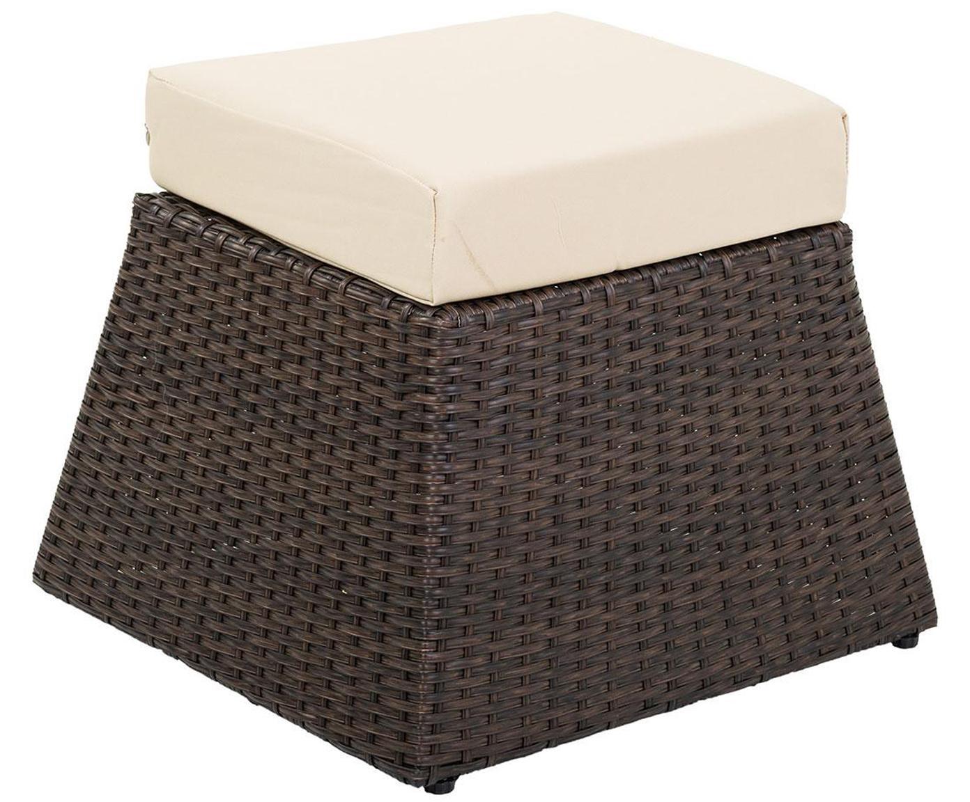 Taburete de exterior Leyre, Tapizado: poliéster, Estructura: ratán, Marrón, beige, An 52 x Al 33 cm