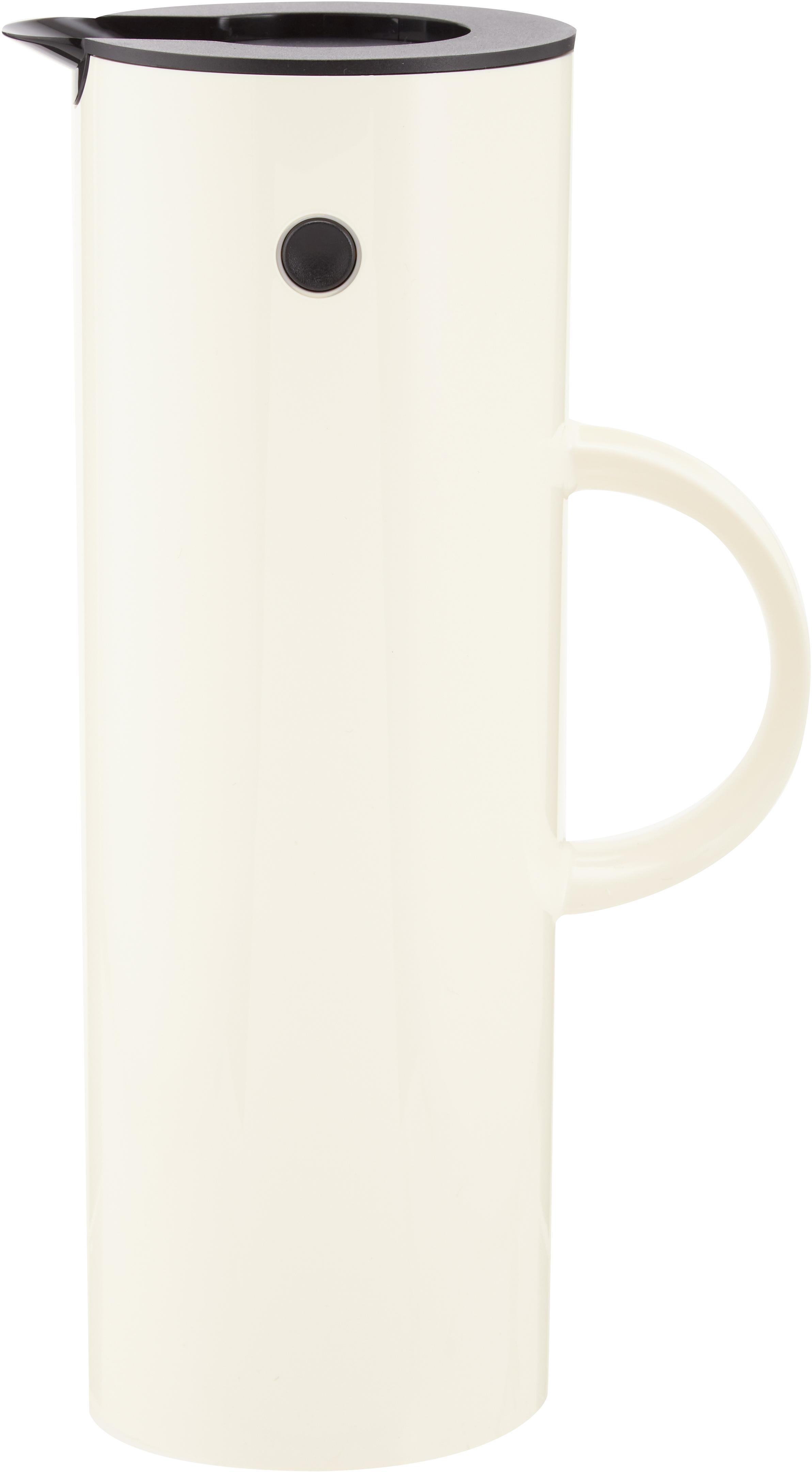 Thermosfles EM77 in glanzend crèmewit, ABS, aan de binnenkant met glazen inleg, Wit, 1 L