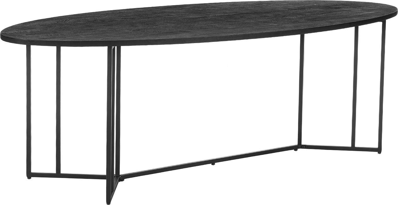Ovale massief houten eettafel Luca in zwart, Tafelblad: geborsteld en gelakt mass, Frame: gepoedercoat metaal, Tafelblad: zwart gelakt mangohout. Frame: mat zwart, B 240 x D 100 cm