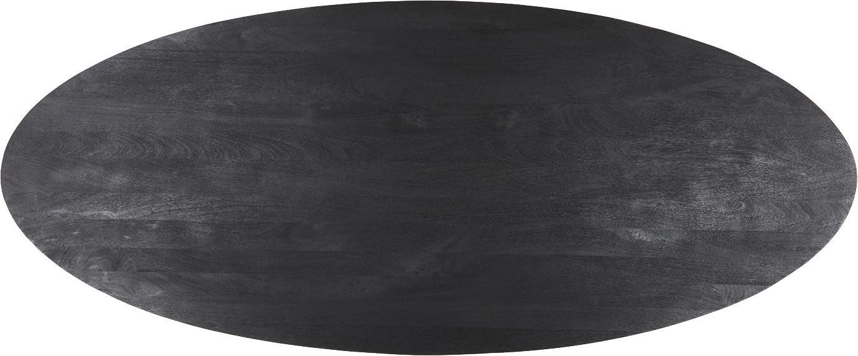Tavolo ovale con piano in legno Luca, Piano d'appoggio: legno di mango massello s, Struttura: metallo verniciato a polv, Piano: legno di mango, verniciato nero Struttura: nero opaco, Larg. 240 x Prof. 100 cm