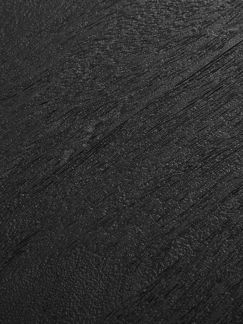 Ovaler Esstisch Luca mit Massivholzplatte in Schwarz, Tischplatte: Massives Mangoholz, gebür, Gestell: Metall, pulverbeschichtet, Tischplatte: Mangoholz, schwarz lackiertGestell: Schwarz, matt, B 240 x T 100 cm