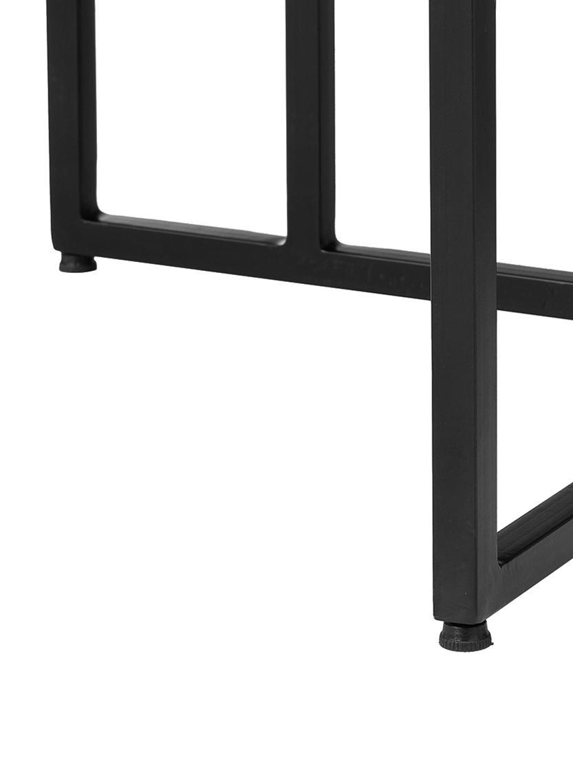 Mesa de comedor de madera maciza Luca, Tablero: madera de mango maciza, c, Estructura: metal con pintura en polv, Negro, An 240 x F 100 cm