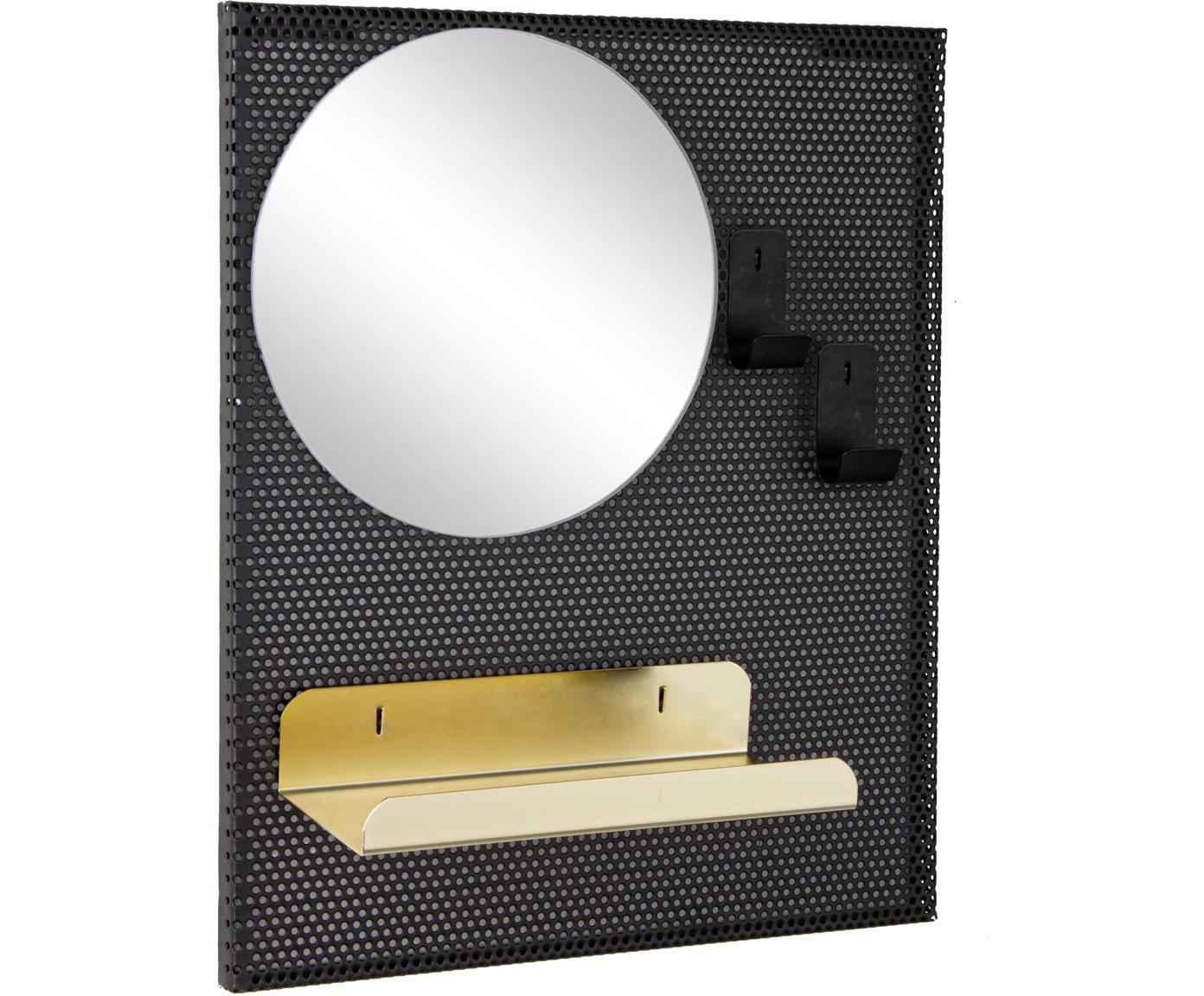 Wandspiegel Metric mit Metallrahmen und Ablagefläche, Spiegelfläche: Spiegelglas, Schwarz, Goldfarben, 31 x 37 cm