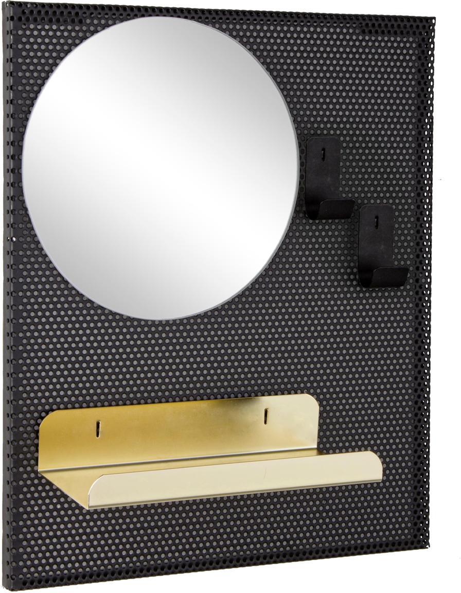 Specchio da parete con mensola Metric, Superficie dello specchio: lastra di vetro, Nero, dorato, Larg. 31 x Alt. 37 cm