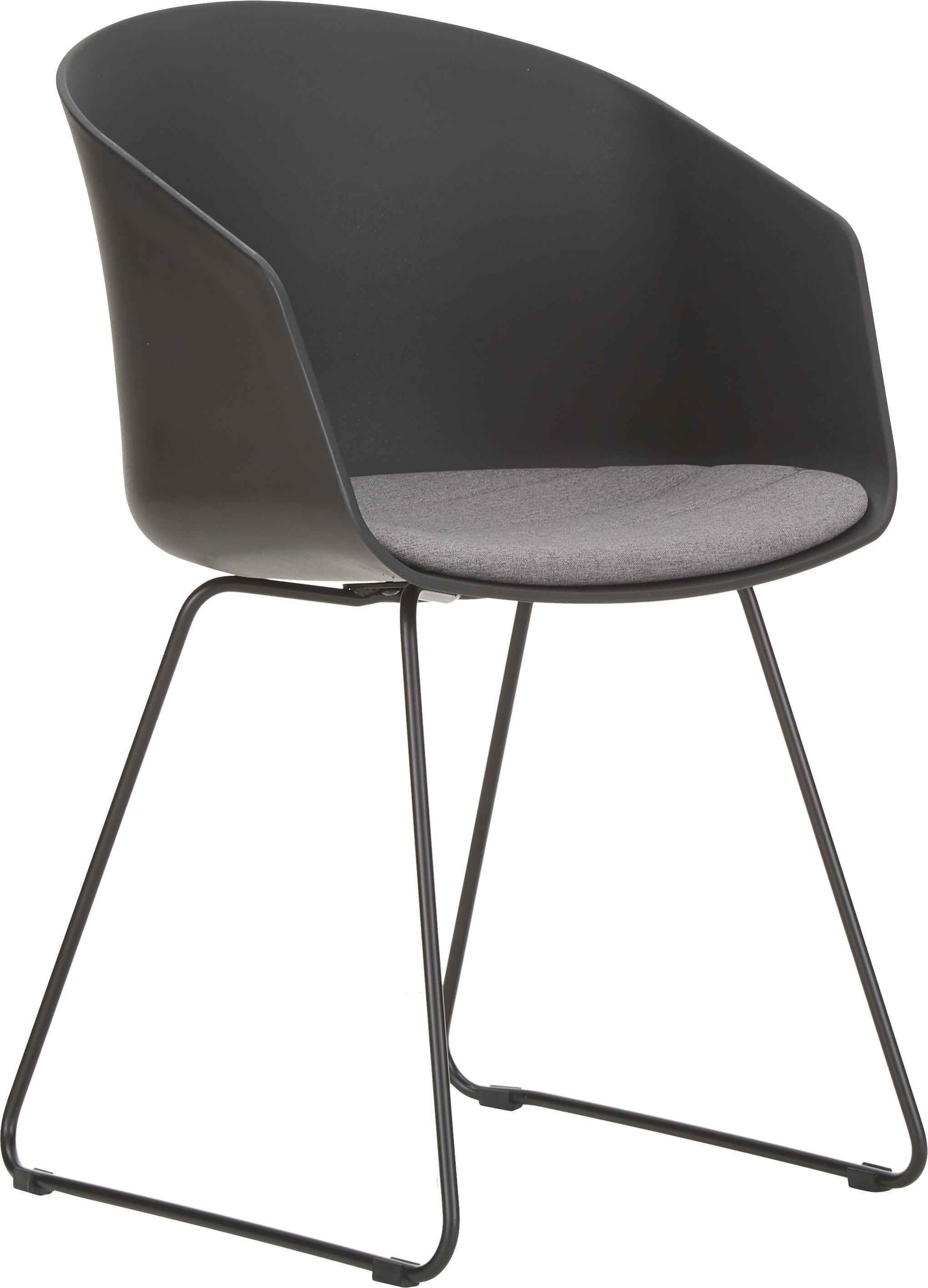 Armlehnstühle Bogart mit Sitzkissen, 2 Stück, Sitzschale: Kunststoff, Bezug: Polyester, Beine: Metall, lackiert, Schwarz, B 51 x T 52 cm