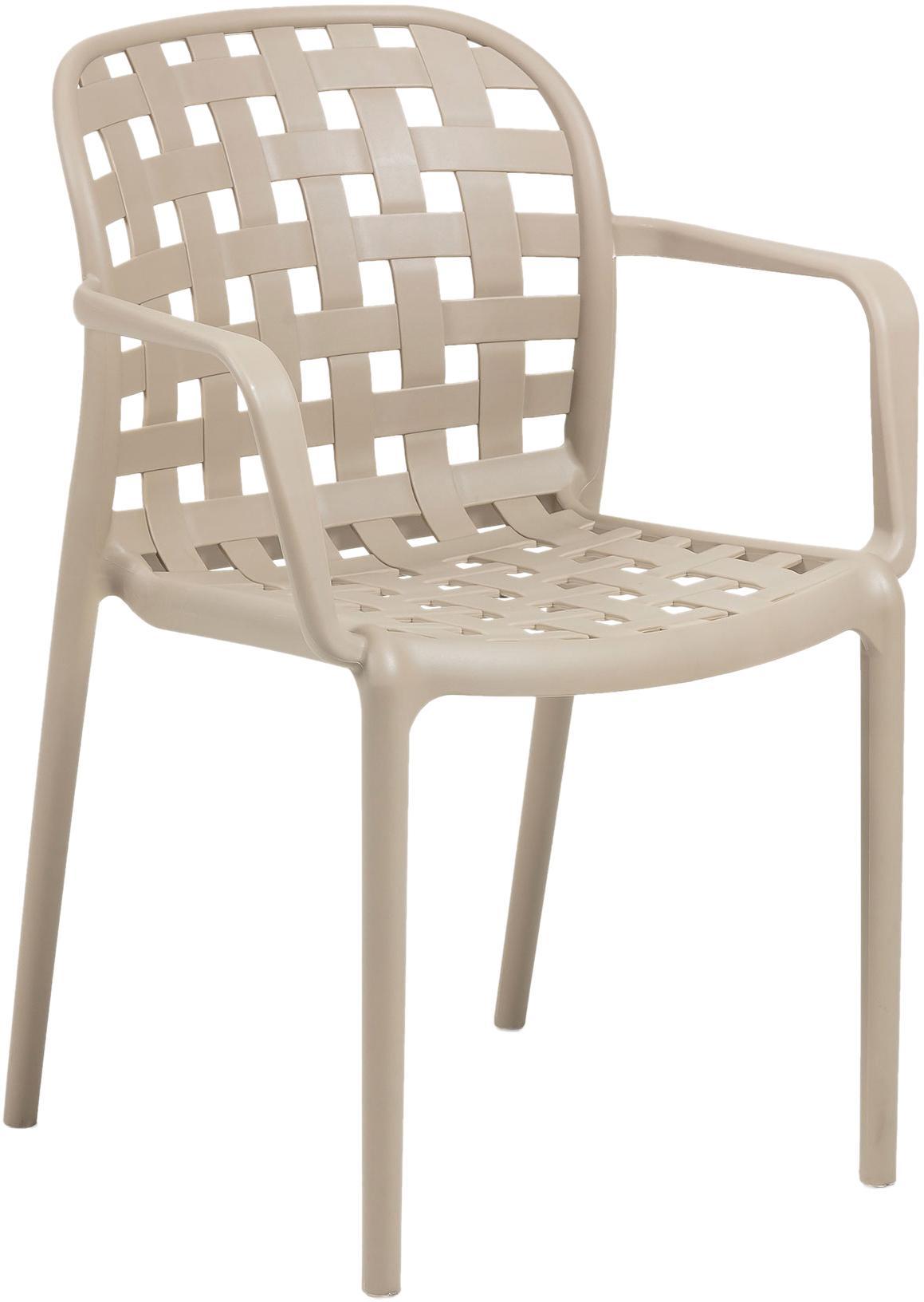 Krzesło ogrodowe składane z tworzywa sztucznego Isa, 2 szt., Tworzywo sztuczne, Beżowy, S 58 x G 58 cm