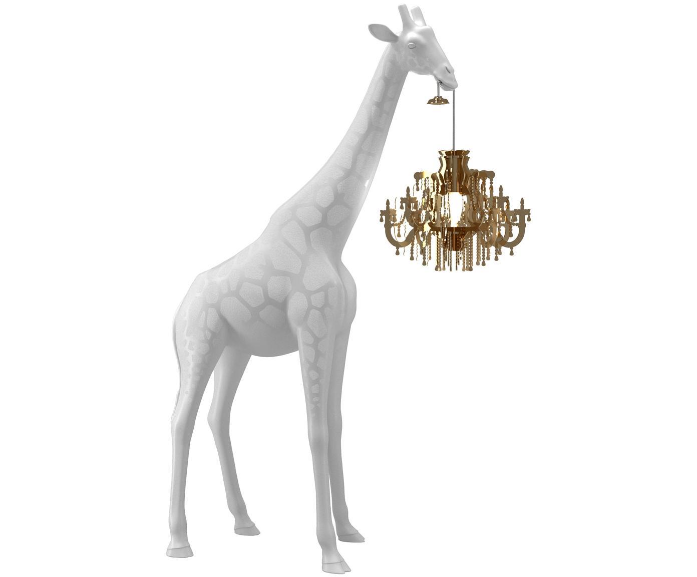 Design-Bodenleuchte Giraffe in Love, Weiß, Goldfarben, 60 x 100 cm