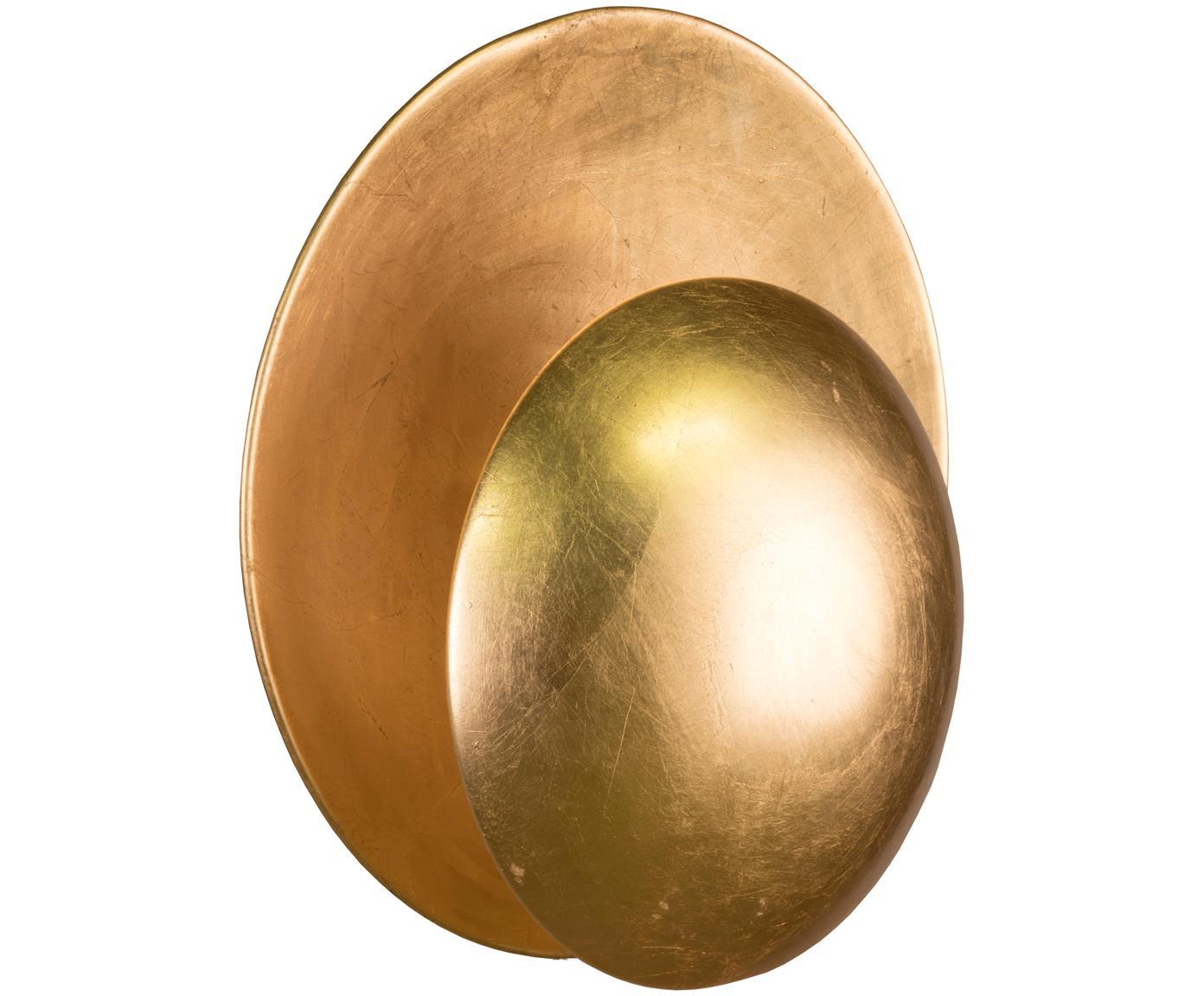 Wandlamp Orbit, Metaal, bedekt met bladgoud, Goudkleurig, Ø 30 x D 15 cm