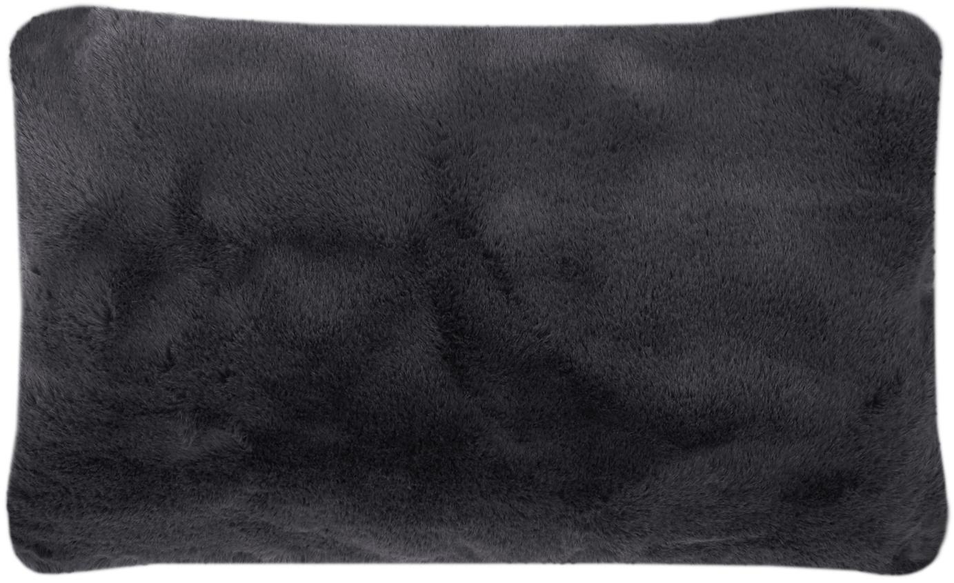 Sehr flauschige Kunstfell-Kissenhülle Mette, glatt, Vorderseite: 100% Polyester, Rückseite: 100% Polyester, Dunkelgrau, 30 x 50 cm
