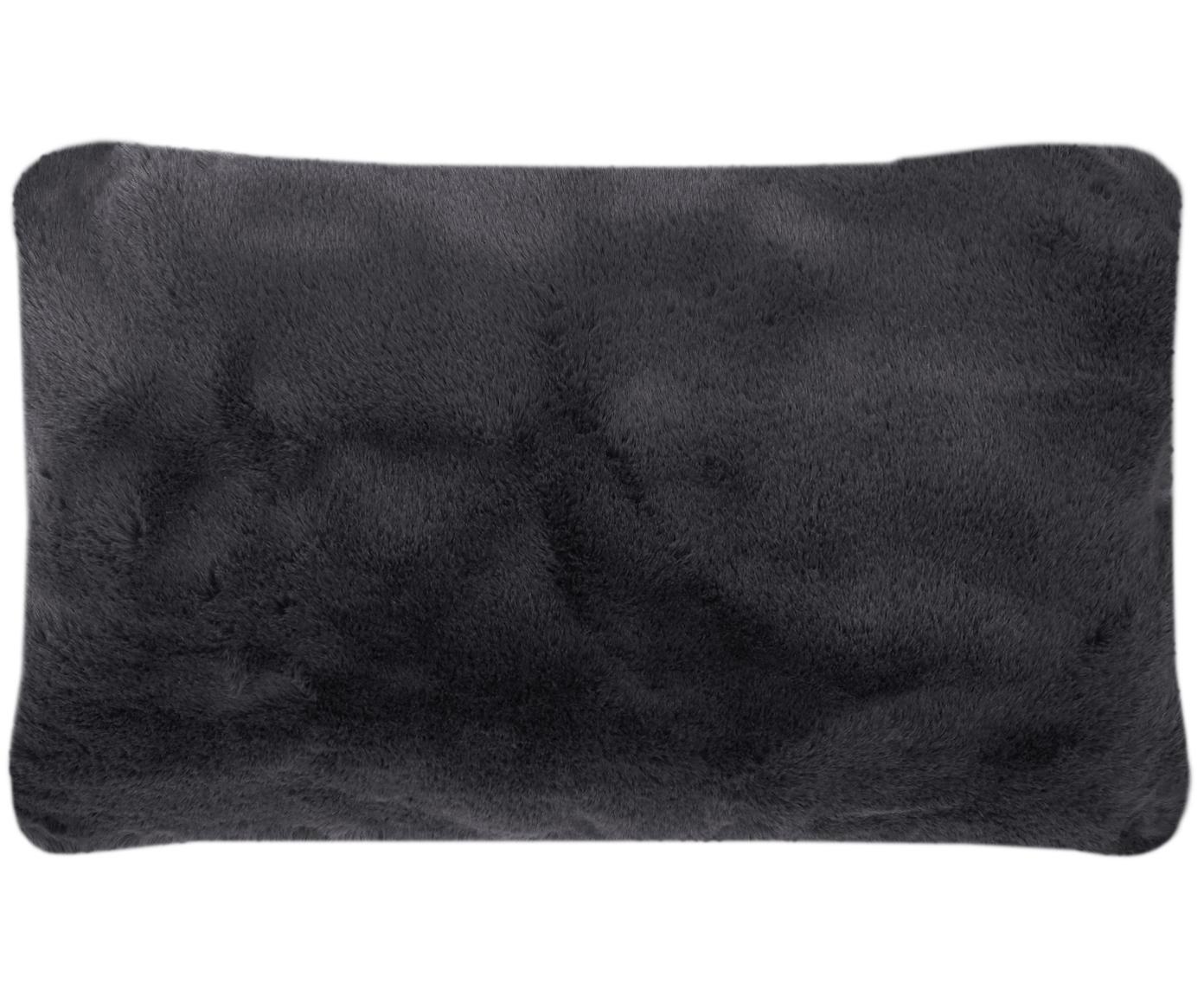 Funda de cojín de piel sintética Mette, Parte delantera: 100%poliéster, Parte trasera: 100%poliéster, Gris oscuro, An 30 x L 50 cm
