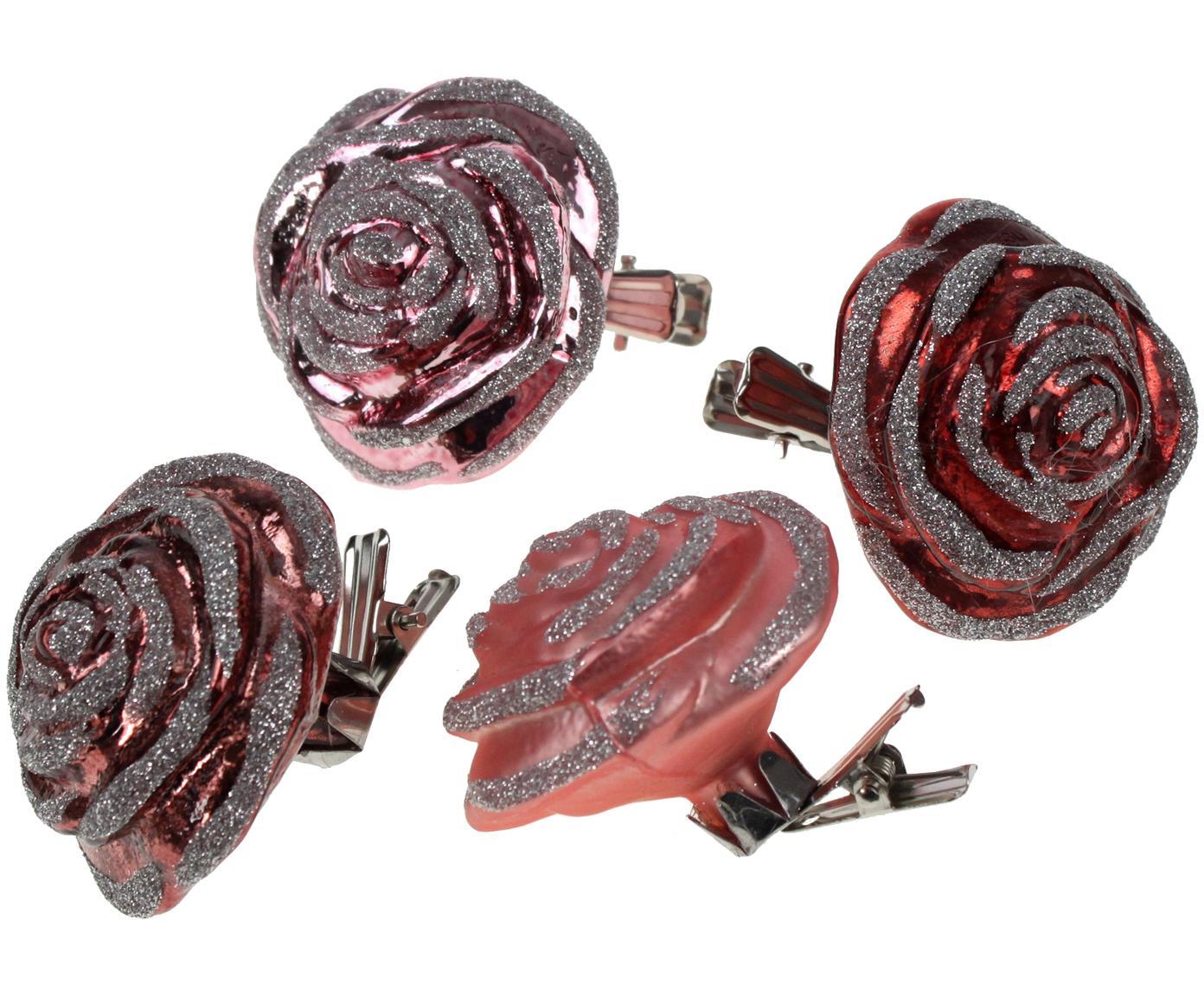 Set de adornos navideños Glasrose, 4-tlg, Tonos rosas, Ancho 5 x Alto 6 cm