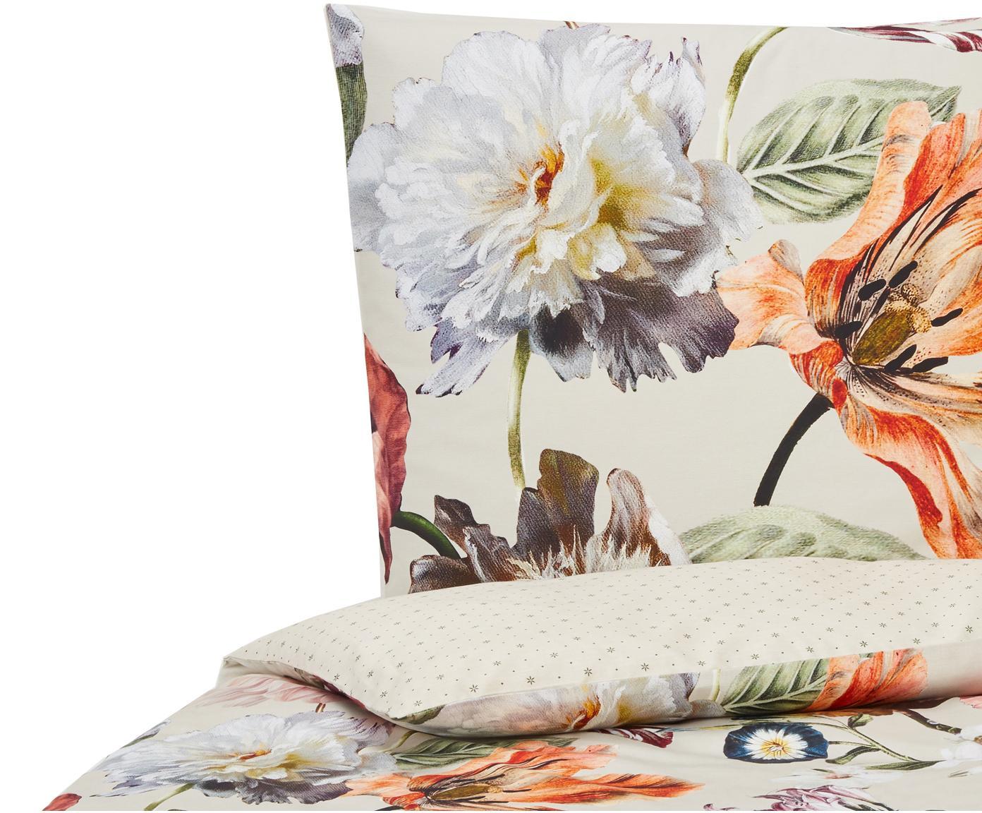 Baumwollsatin-Wendebettwäsche Filou mit Blumen-Muster, Webart: Satin Fadendichte 209 TC,, Sandfarben, Mehrfarbig, 135 x 200 cm + 1 Kissen 80 x 80 cm