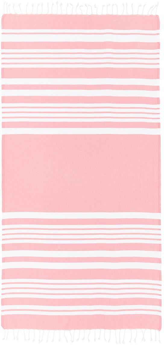 Telo mare a righe con frange Stripy, Cotone Qualità molto leggera 185 g/m², Rosa, bianco, Larg. 95 x Lung. 175 cm