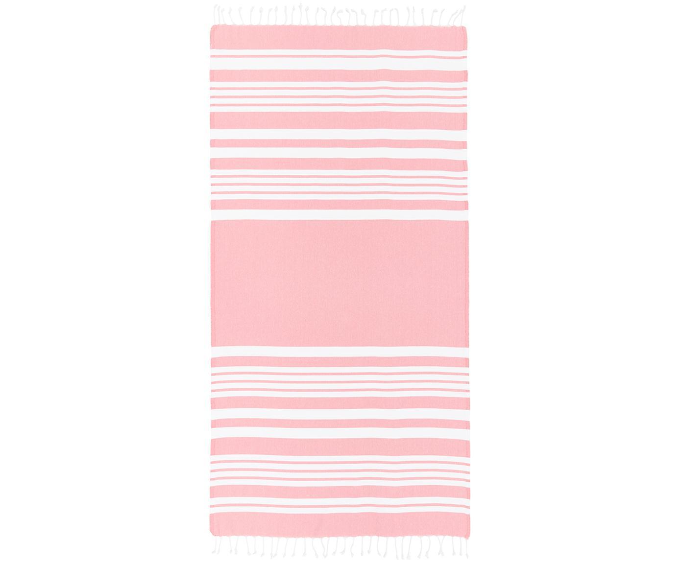 Gestreiftes Hamamtuch Stripy mit Fransenabschluss, 100% Baumwolle Sehr leichte Qualität, 185 g/m², Pink, Weiß, 95 x 175 cm