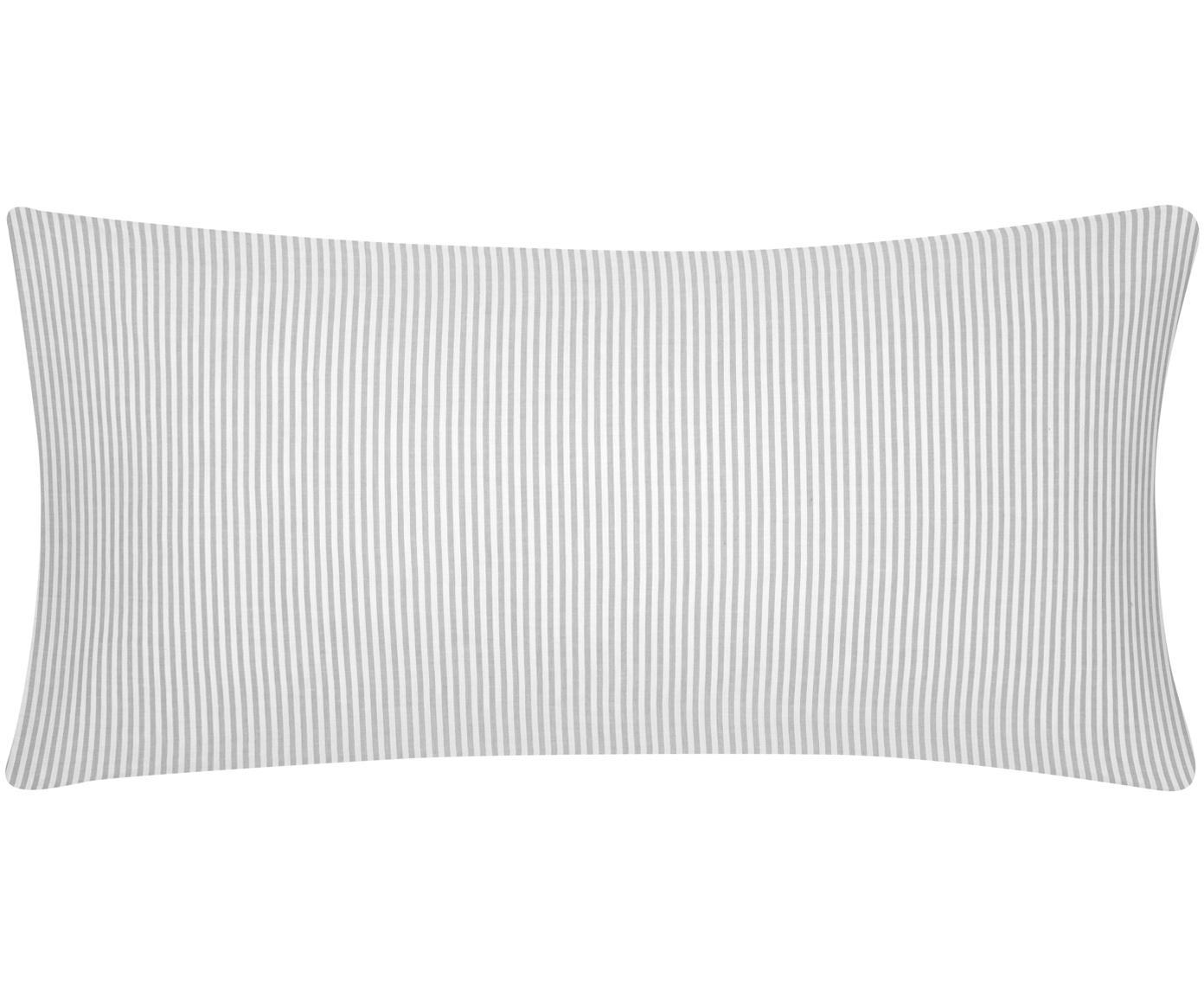 Baumwoll-Kissenbezüge Ellie, fein gestreift, 2 Stück, Webart: Renforcé Fadendichte 118 , Weiß, Grau, 40 x 80 cm