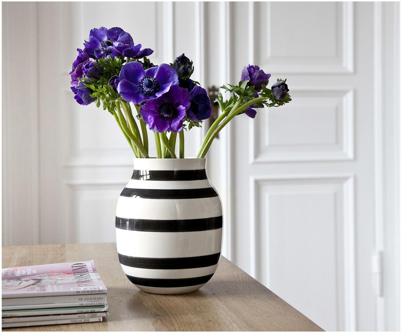 Średni ręcznie wykonany wazon Omaggio, Ceramika, Czarny, biały, Ø 17 x W 20 cm