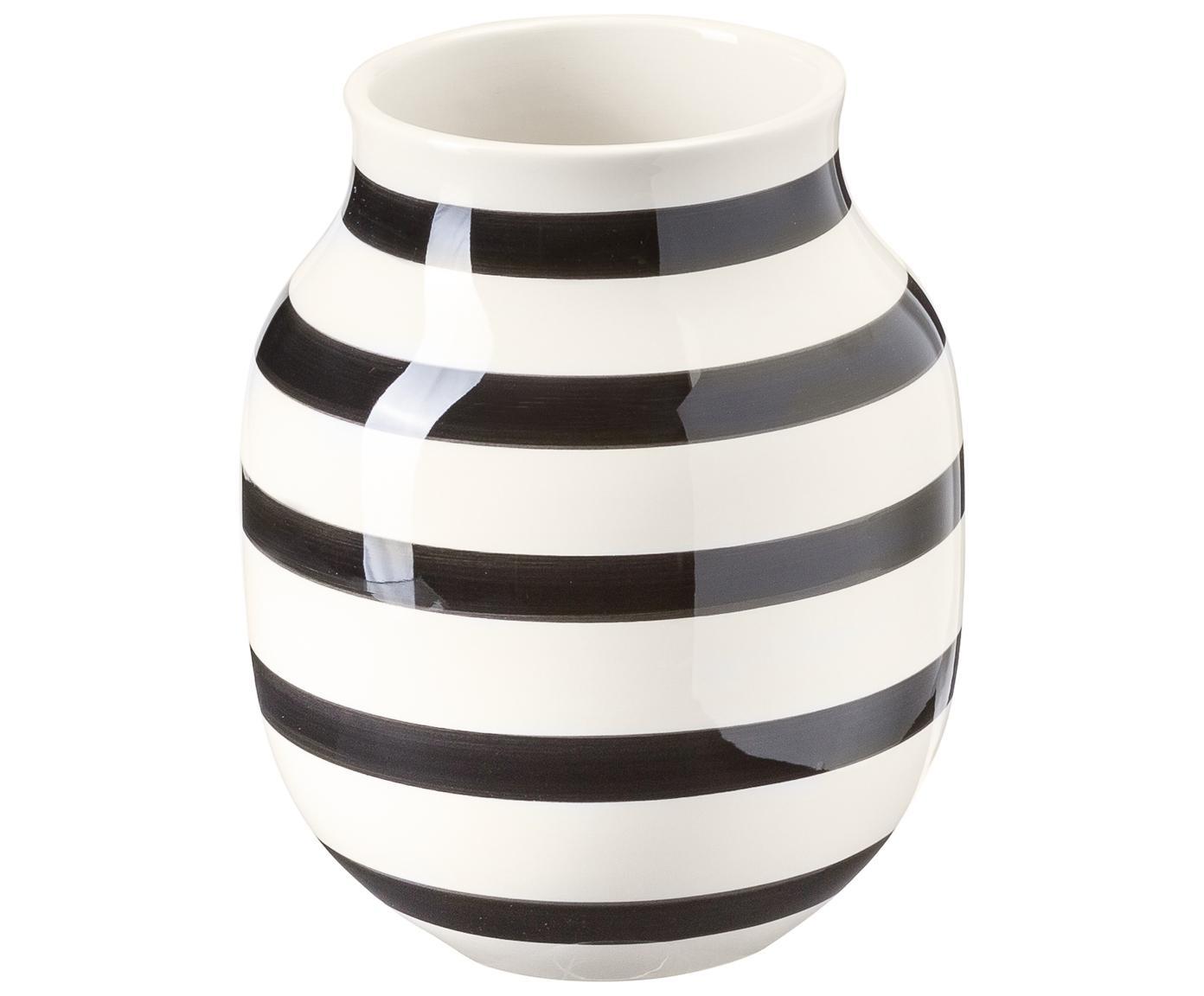 Handgefertigte Design-Vase Omaggio, medium, Keramik, Schwarz, Weiss, Ø 17 x H 20 cm