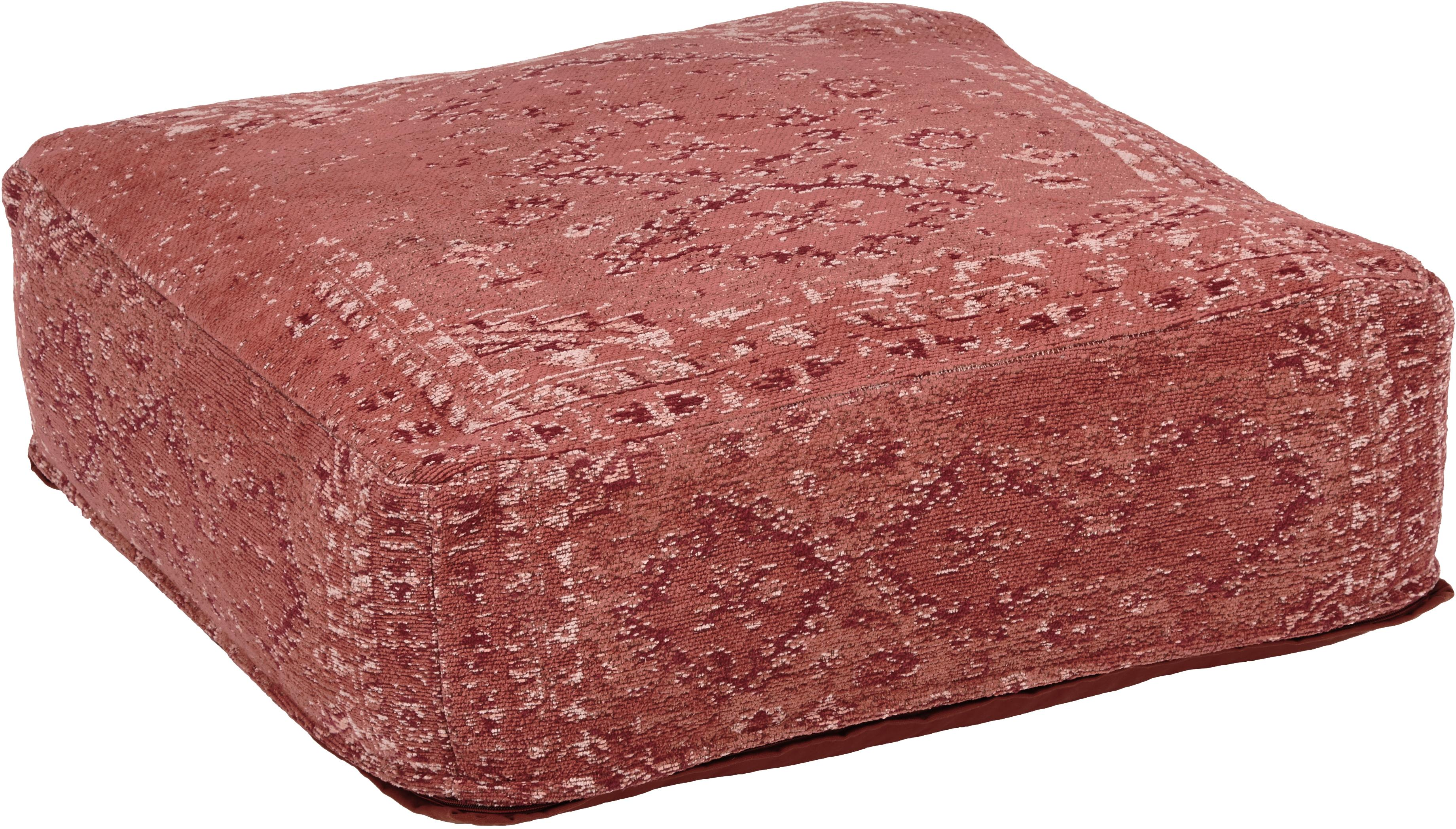 Cojín de suelo Rebel, estilo vintage, Funda: 95%algodón, 5%poliéster, Interior: poliéster, Rojo indio, crema, rojo, An 70 x Al 26 cm
