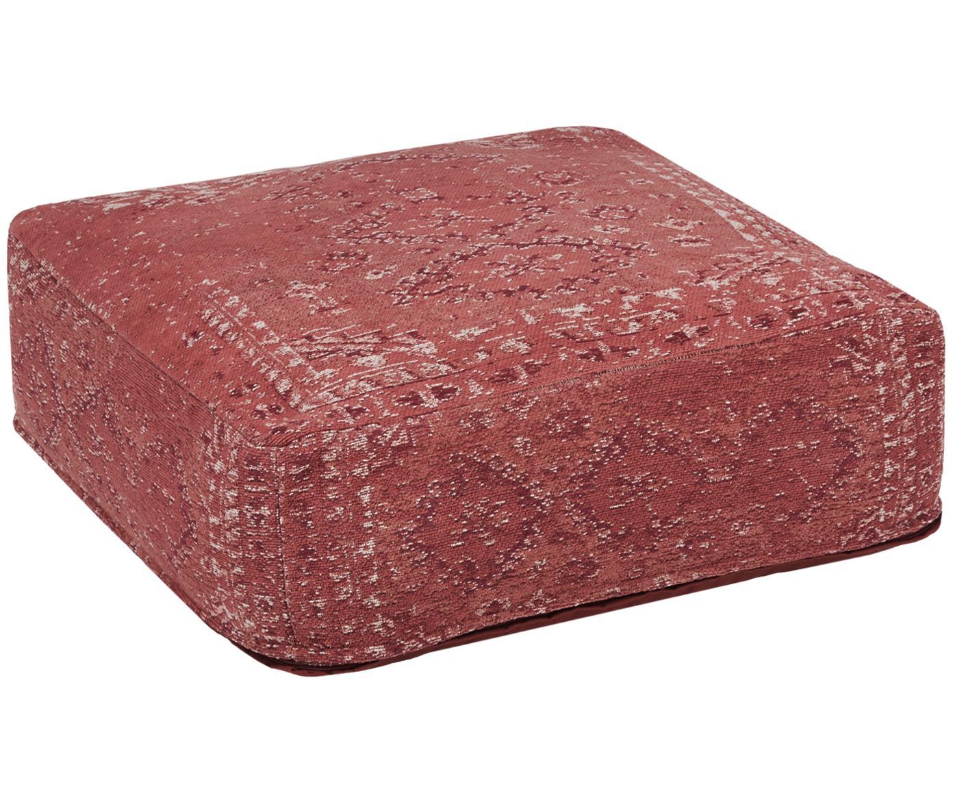 Poduszka podłogowa vintage Rebel, Tapicerka: 95% bawełna, 5% poliester, Rudy, kremowy, czerwony, S 70 x D 70 cm