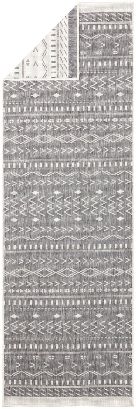 In- und Outdoor-Wendeläufer Kuba in Grau/Creme, Grau, Creme, 80 x 250 cm