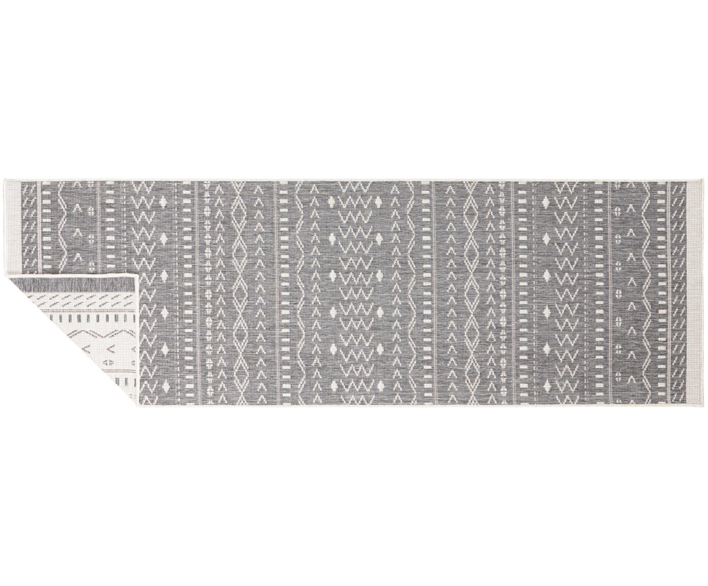 Dubbelzijdige in- & outdoor loper Kuba, Grijs, crèmekleurig, 80 x 250 cm
