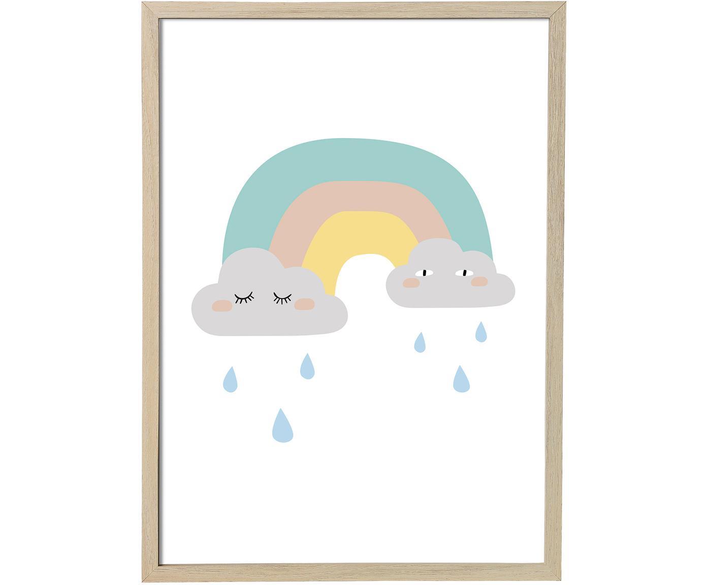 Gerahmtes Bild Rainbow, Bild: Papier, Rahmen: Mitteldichte Holzfaserpla, Weiss, 55 x 75 cm
