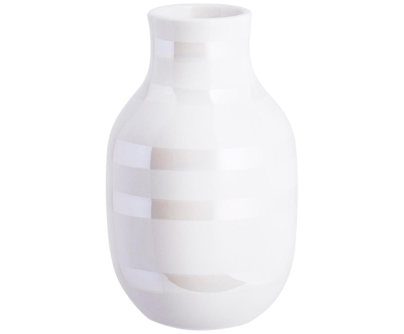 Handgemaakte design vaas Omaggio, klein, Keramiek, Wit, parelmoerkleurig, Ø 8 x H 13 cm