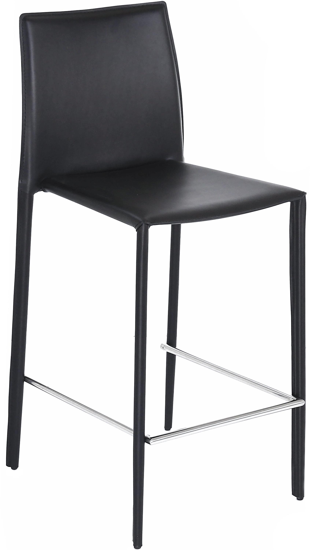 Leren barstoelen Boréalys, 2stuks, Zitvlak: gerecycled leer, Frame: gepoedercoat metaal, Zwart, 44 x 98 cm