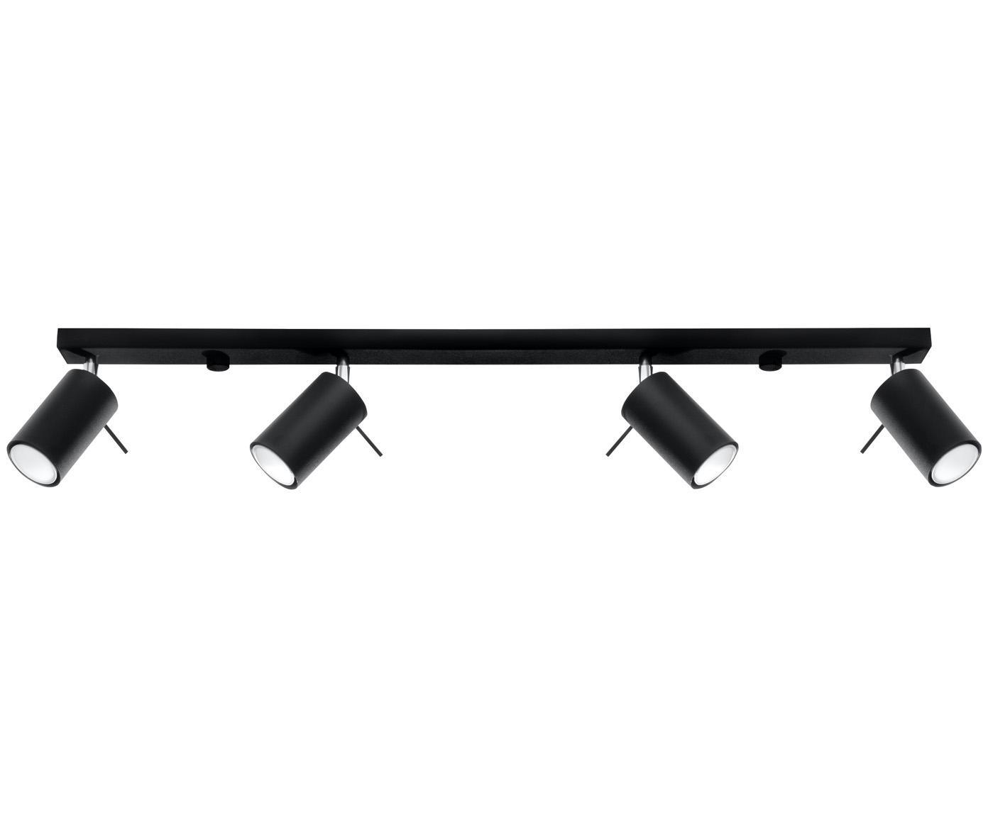 Große Deckenleuchte Etna, Lampenschirm: Stahl, beschichtet, Baldachin: Stahl, beschichtet, Schwarz, 81 x 16 cm