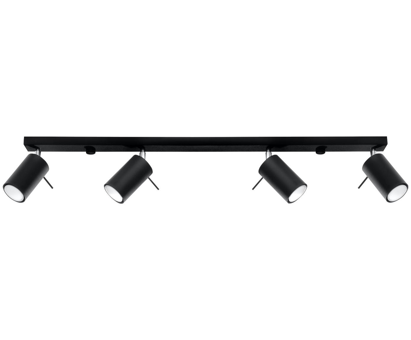 Grosser Deckenstrahler Etna, Lampenschirm: Stahl, beschichtet, Baldachin: Stahl, beschichtet, Schwarz, 81 x 16 cm