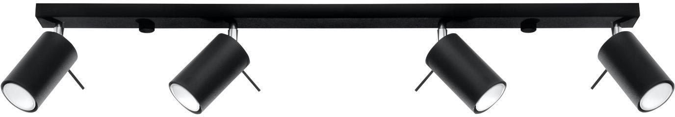 Faretti  da soffitto Etna, Paralume: acciaio rivestito, Baldacchino: acciaio rivestito, Nero, Larg. 81 x Alt. 16 cm