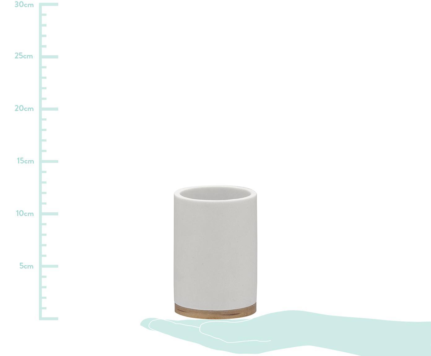 Tandenborstelbeker Grace met bamboehout, Houder: polyresin, Voetstuk: bamboehout, Wit, Ø 7 x H 11 cm