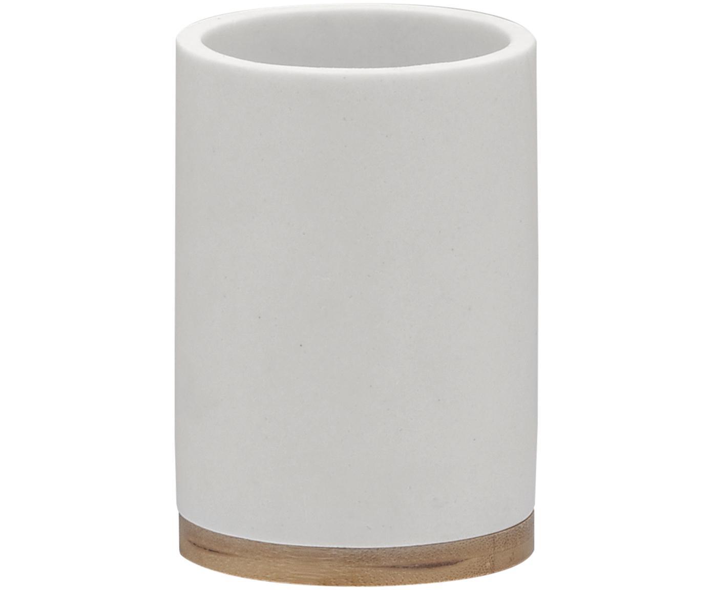 Porta spazzolini  Grace, Recipiente: poliresina, Bianco, Ø 7 x Alt. 11 cm