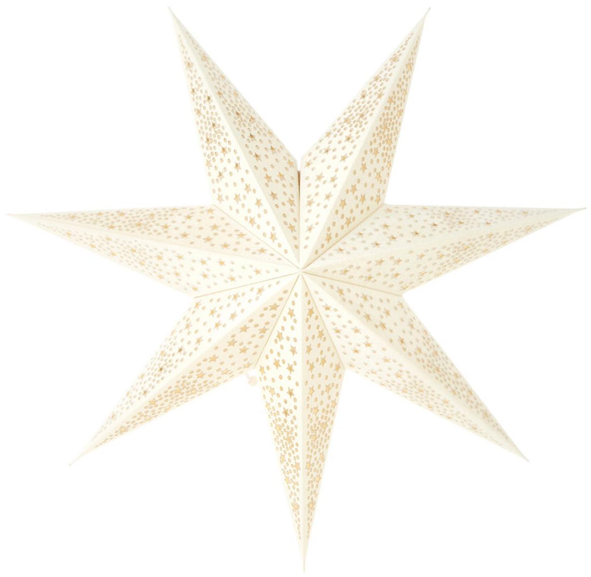 Samt-Weihnachtsstern Orby, Papier, Samt, Cremeweiß, Goldfarben, Ø 45 cm