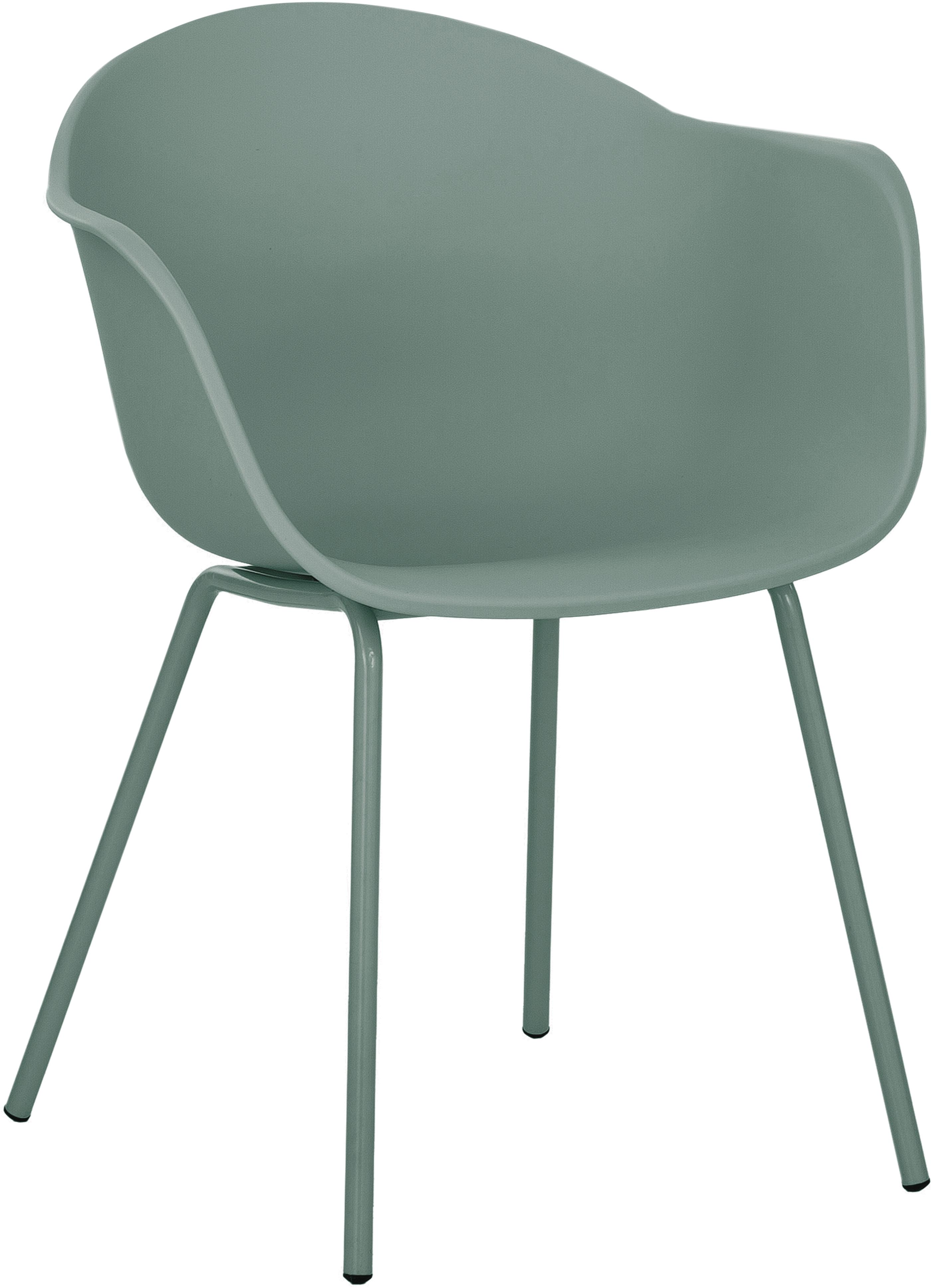 Sedia con braccioli in plastica con gambe in metallo Claire, Seduta: materiale sintetico, Gambe: metallo verniciato a polv, Verde, Larg. 54 x Prof. 60 cm