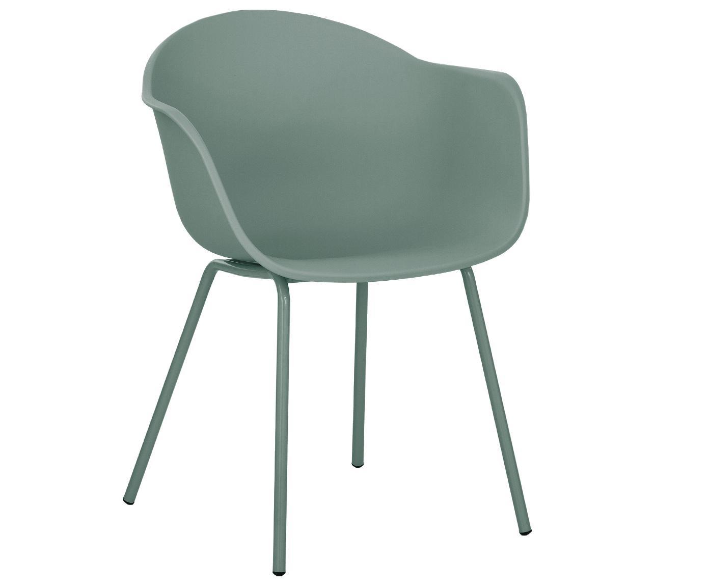 Krzesło z podłokietnikami z tworzywa sztucznego Claire, Nogi: metal malowany proszkowo, Zielony, S 54 x G 60 cm
