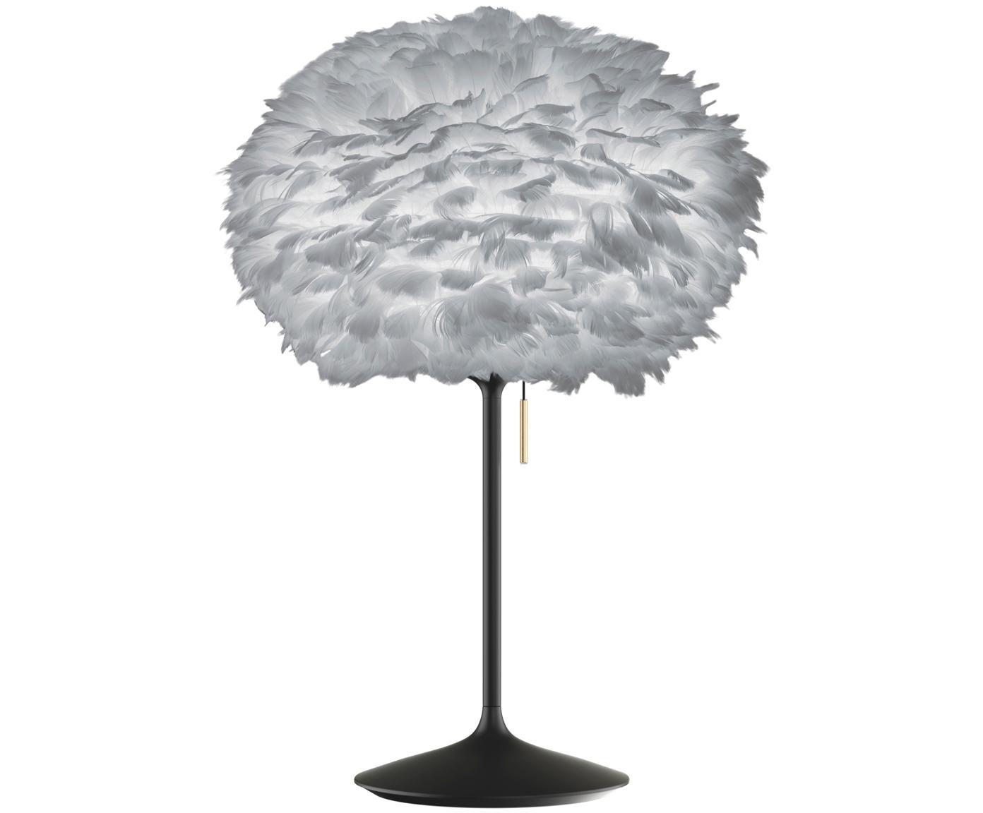 Lámpara de mesa grande Eos Champagne, Pantalla: plumas de ganso, Estructura: acero, Interruptor: metal, latón, Cable: plástico, Gris, negro, Ø 35 x Al 62 cm