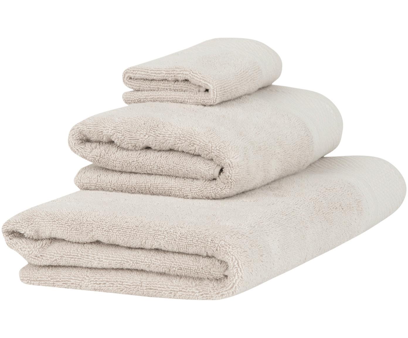 Handdoekenset Premium met klassiek sierborduursel, 3-delig, Beige, Verschillende formaten