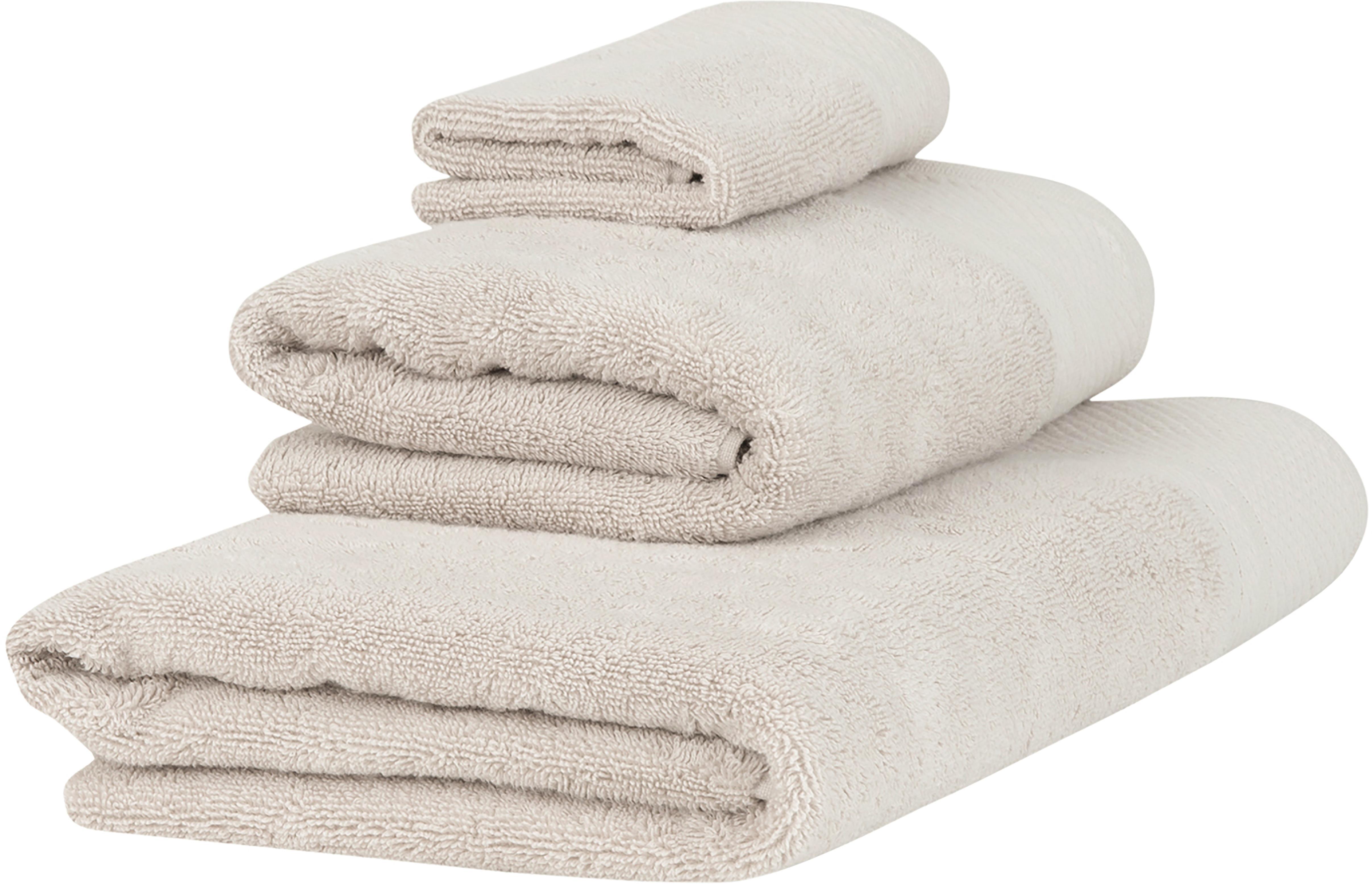 Handtuch-Set Premium mit klassischer Zierbordüre, 3-tlg., Beige, Set mit verschiedenen Größen