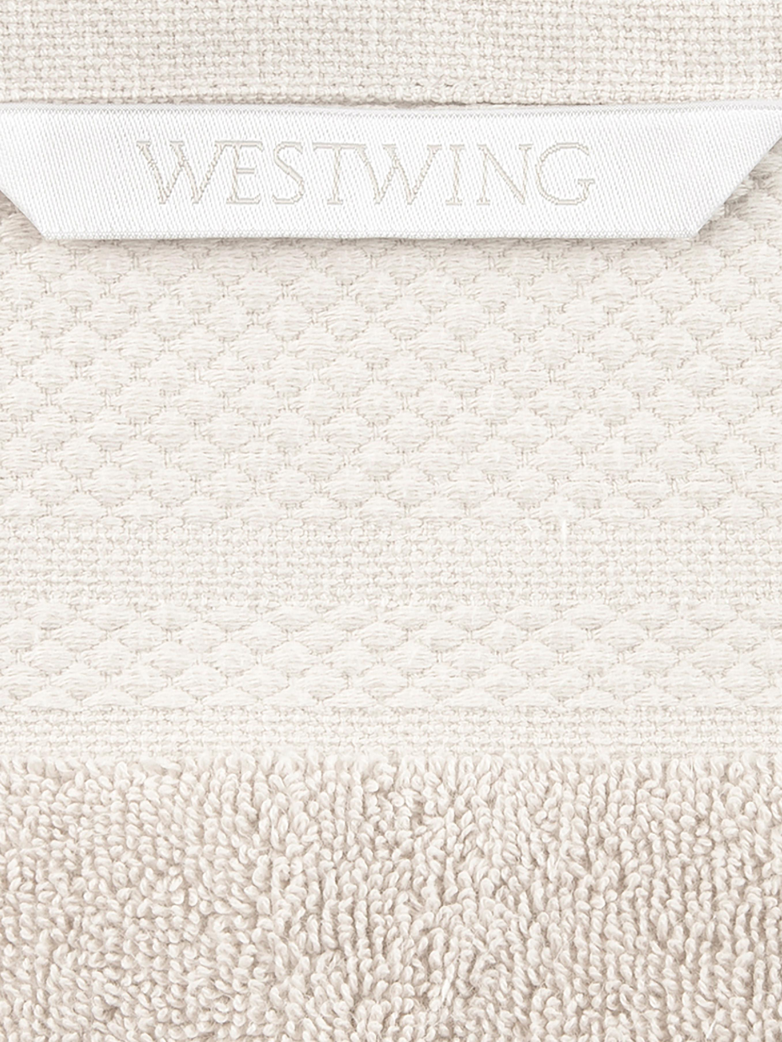 Set 3 asciugamani con bordo decorativo Premium, Cotone, qualità pesante 600g/m², Beige, Diverse dimensioni