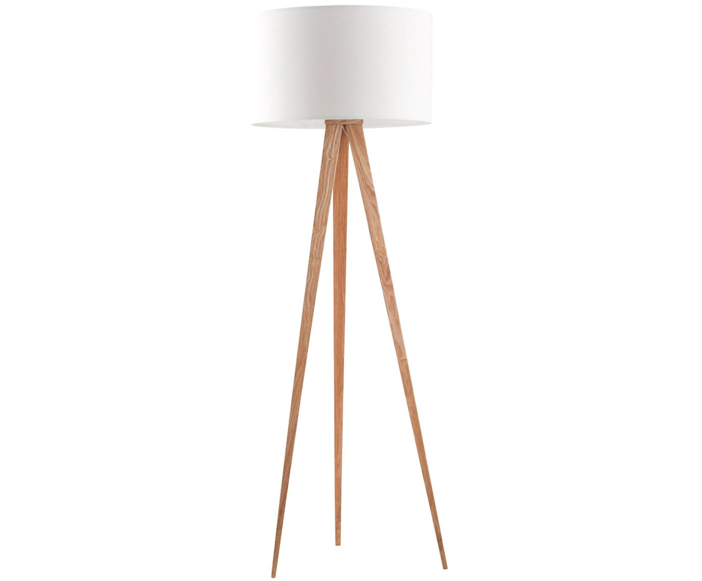 Lampada da terra Tripod, Base della lampada: metallo con impiallacciat, Paralume: poliestere, Bianco, impiallacciatura in quercia, Ø 50 x A 157 cm